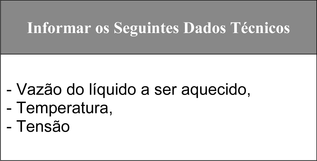 Tabela de Pedido do Aquecedor Industrial