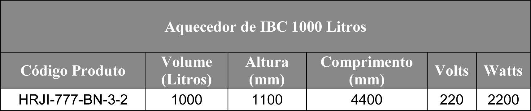 Tabela de manta aquecedora de container IBC